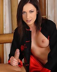 Sexy brunette babe Raffaella G doing hot blowjob on hard guy