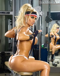 Coco gets hot and sweaty in the gym.