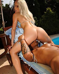 Blue eyed blondie screwing hard with a black guy